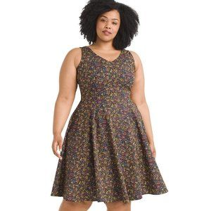 2X EVA ROSE Ditsy Floral Black Fit And Flare dress